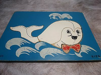 Vintage Sifo Wood Puzzle Whale Water Sea Blue