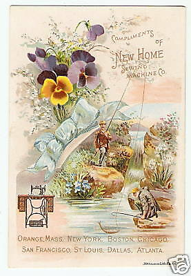 NEW HOME SEWING MACHINE VTC Classic Fishing Scene VICTORIAN ADVERT TRADE CARD