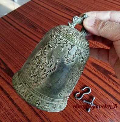 famous Tibet Bronze Buddhist Dragon Singing bell lucky antique excellent