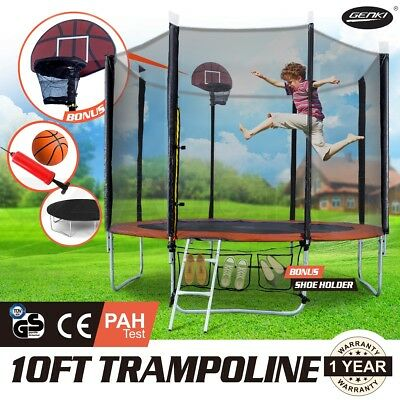 New 10ft Round Trampoline FREE Basketball Set+Ladder+Spring Pad Cover+Safey Net
