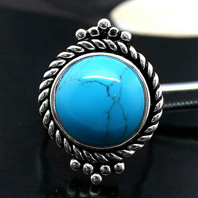 Fashion Titanium Turquoise 925 Sterling Silver Antique Ring Us Size 7/8/9/10