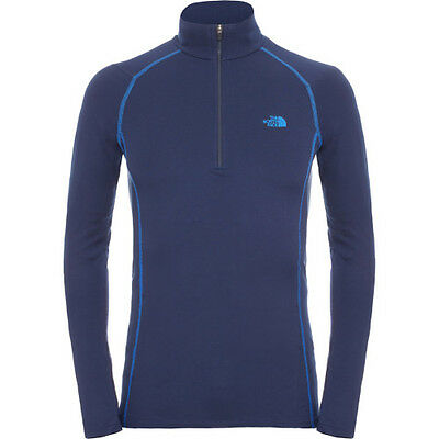 North Face Warm L S Zip Neck Mens Base Layer Top - Cosmic Blue All Sizes