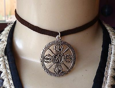 Vintage Necklace Tibetan Om Dorje Temple Pendant Leather Choker