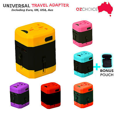 Universal Travel Adapter USB Wall AC Power 240v 110v for AU EUROPE USA UK