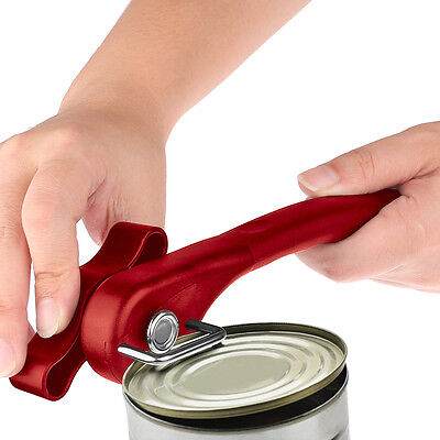 Pro Multifunction Stainless Steel Safety Side Cut Manual Can Tin Opener Tool Red