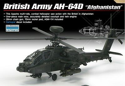 Academy 1/72 AH-64D Plastic Model Kit 12537 British Army Afghanistan Helicopters