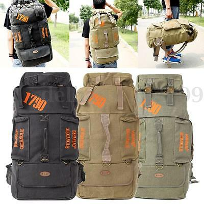 80L Canvas Backpack Rucksack Bag Packet Outdoor Hiking Camping Travel Trekking