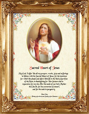 SACRED HEART JESUS FRAMED PICTURE AND PRAYER 100's OF STATUES AND CANDLES LISTED
