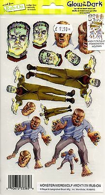 Frankenstein Wereworlf Glow In The Dark Halloween E-Z Rub On Transfer Roy717N Kk
