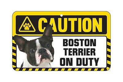 Dog Sign Caution Beware - Boston Terrier