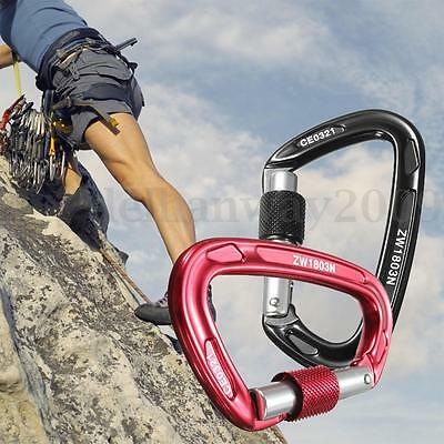 23KN Rock Mountaineering Climbing Carabiner Clips Screwgate Locking Safety Gear