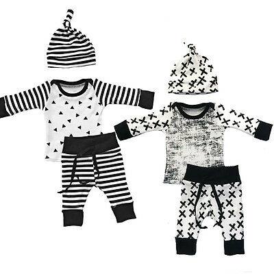 Newborn Toddler Baby Boy Girl Long Sleeve Tops+Pants Hat 3PCS Outfit Set Clothes