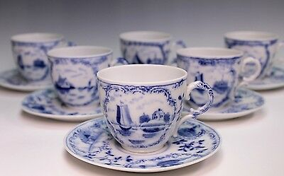Rauenstein 19th Century German Blue White Ships Delft Six Cups and Saucers