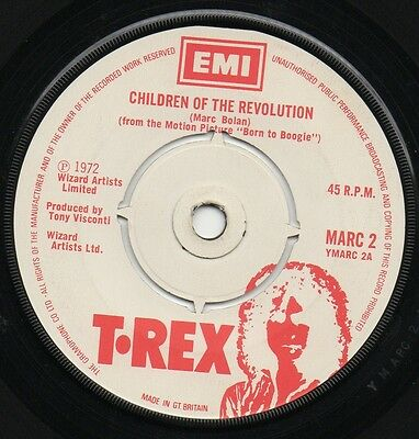 "MARC BOLAN*T.REX children of the revolution*jitterbug love 1972 UK EMI 7"" 45"