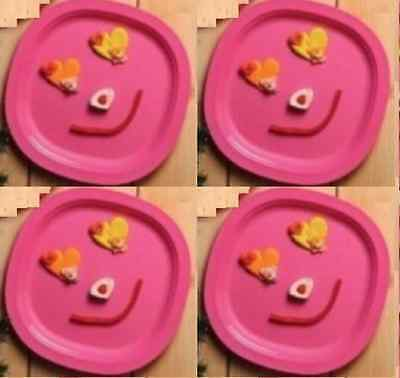 "Tupperware Microwave Luncheon Plates 4pc Set 9.5"" Solid Pink New"