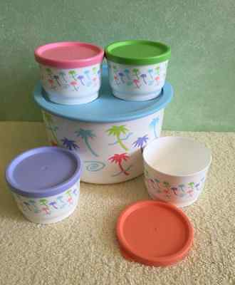 Tupperware Palm Tree Design Rare 4 cup Canister & Four Snack Cups & Seals New