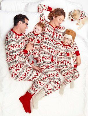 Christmas Family Matching Pajamas Set Long Sleeve Sleepwear Nightwear Outfits AU