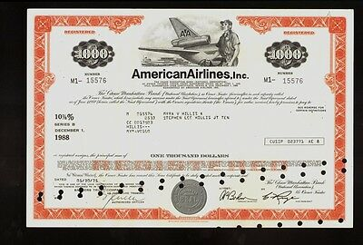 AA : AMERICAN AIRLINES USD 1,000 old bond certificate iss Myra & Stephen Hillis