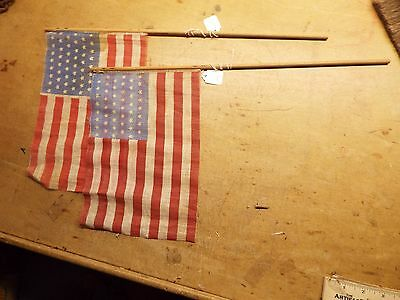 "2-Vintage WW1 -PARADE FLAGS 7"" X 10"""