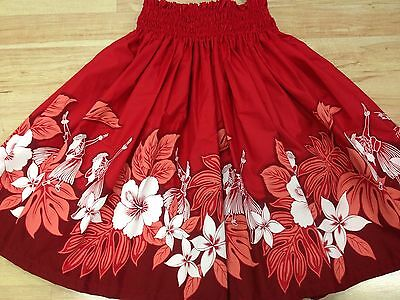 "New Red Hawaiian Pau Pa'u Hula Dance Fabric Skirt 29"" Long"