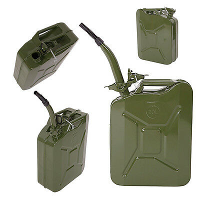 5 Gal 20L NATO Style Jerry Can Gasoline Fuel Can Metal Gas Tank Emergency Backup