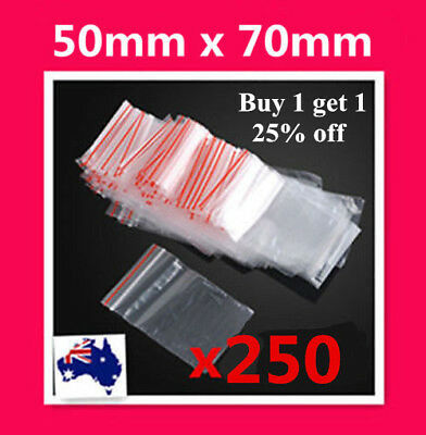 250  5x7cm Small Zip Lock Plastic Bags Resealable Ziplock Bags 50mm x70mm