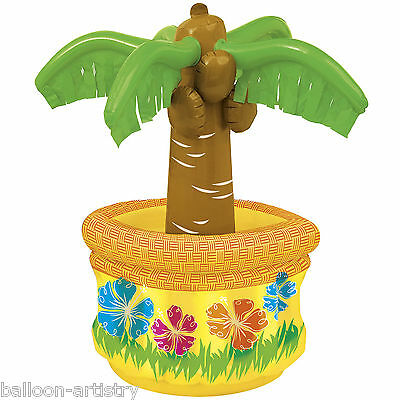 """26"""" Tropical Luau Summer BBQ Party Inflatable Table Top Palm Tree Drinks Cooler"""
