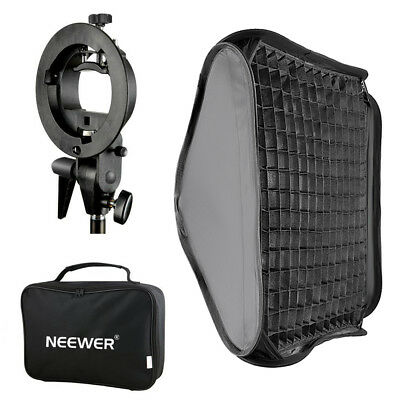 Neewer 32x32 inches Bowens Mount Softbox with Grid and S-type Flash Bracket