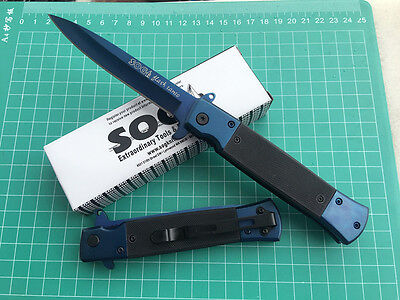 SOG HQ Saber Blue Folding Pocket Knife Outdoor Hunting Camping Fishing Rescue