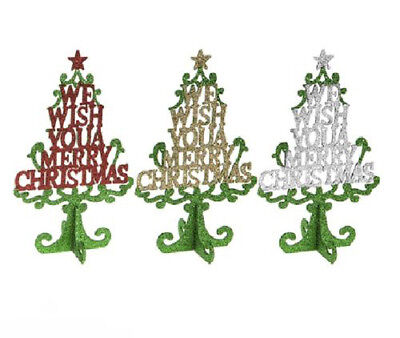 Christmas Tree Glitter Decoration 25cm Free Standing Table Centre Piece 513132
