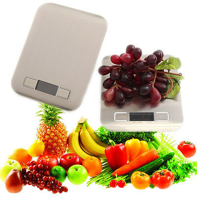 11lbx0.05oz Slim LCD Digital Kitchen Scale 5Kg x 1g Weight Food Diet Gray/White