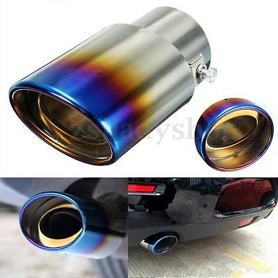 2.5'' Grilled Blue Chrome Stainless Steel Exhaust Muffler Tip Pipe Universal New