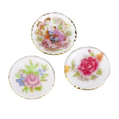 1:12 Doll House Mini Floral Porcelain Plates Dining Table Decor Set of 3