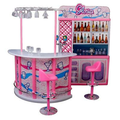 Dollhouse Furniture Gloria's Bar Play Set for Barbie Dolls Kids Pretend Toys