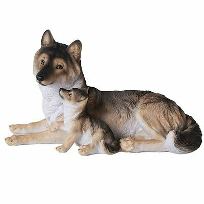 Grey Wolf Mother w Wolf Pup Puppy Animal Lover Collectible Figurine Statue