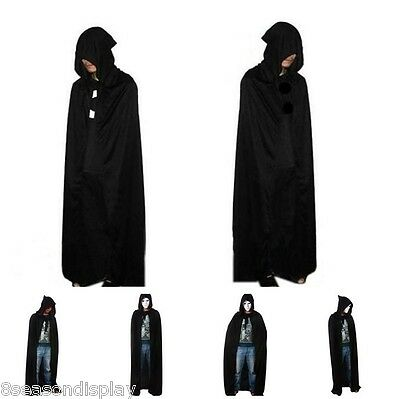 FL Hooded Cape Adult Unisex Long Cloak Black Halloween Costume Dress Coats