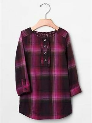 Gap kids buffalo wine plaid ruffle shirt dress tunic festive holiday party 12 14