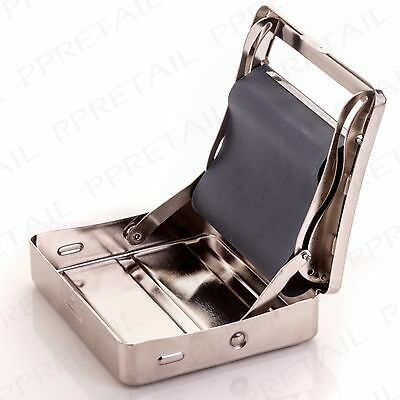 SILVER AUTOMATIC CIGARETTE TOBACCO ROLLING MACHINE METAL BOX TIN Roll Up Maker
