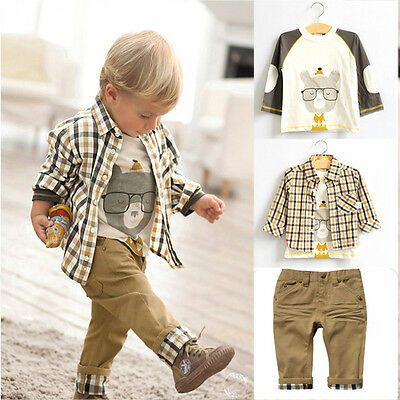 3PCS Baby Boys Kids Toddler Checked T-Shirt Shirt Top Long Pants Outfit Set Gift