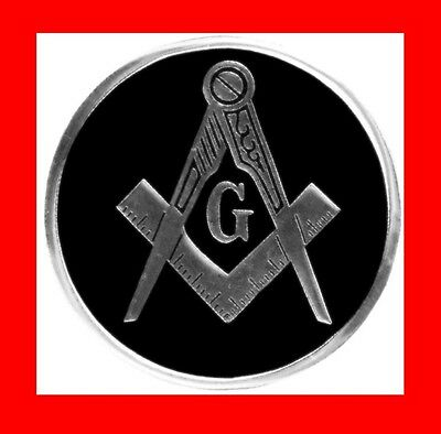"√Nice Rare Black Masonic Metal Car Auto Badge Emblem,mason,3""freemason Logo Gift"