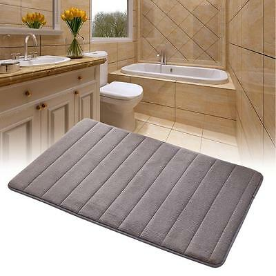 Memory Foam Bath Mat Absorbent Slip-resistant Pad Bathroom Kitchen Mats Gray SS