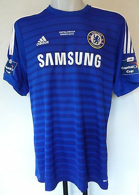 Chelsea Fc 2014/15  Home Shirt By Adidas Adults Size Xl Capital One Cup Winners