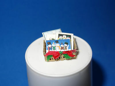 Dollhouse Miniature Christmas Cards Basket with Bow  High Quality 1:12 Scale