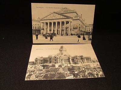 Brussels Bruxelles Theatre Royal, Palais de Justice 2 early 1900s B&W Postcards