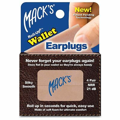 Macks Soft Foam Roll-ups Wallet Ear plugs 4 Pairs Earplugs Noise Blocker