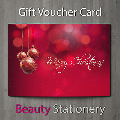 Christmas Gift Voucher Blank Beauty Salon Card Coupon Massage Therapist A7+Env.