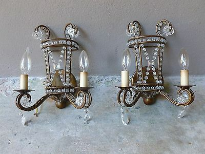 Divine Diminutive Vintage Gilt Italianate Style Tole Beaded Electrified Sconces