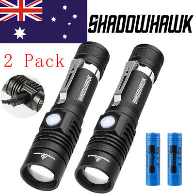 2X 50000lm tactical LED flashlight USB rechargeable torch Shadowhawk +2X Battery