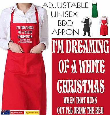 Funny Apron Bar Bbq Kitchen Dreaming of a White Christmas red Wine unisex new