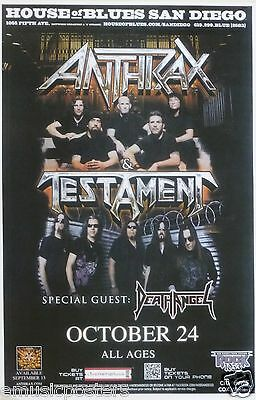 ANTHRAX / TESTAMENT 2012 SAN DIEGO CONCERT TOUR POSTER - Heavy Metal Music